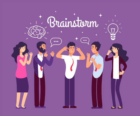 Brainstorming people. Man and woman talking and thinking. Team generates creative idea. Business meeting vector concept. Illustration of business team meeting, office group teamwork communication