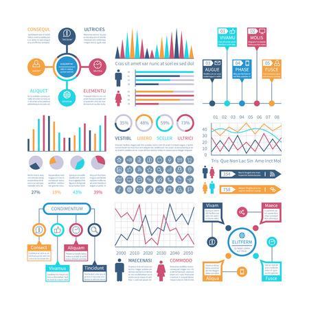 Infographics template. Financial charts, trends graph. Population infocharts. Statistical bar diagram. Presentation vector infographic. Infographic and chart, graph bar presentation illustration