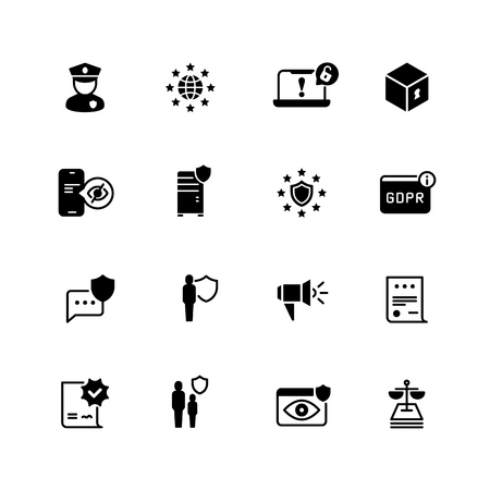 Gdpr icons. Privacy, cookie policy. World compliant safety and confidential business vector symbols. Illustration of gdpr protection data, security and privacy internet Ilustração