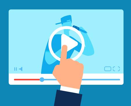 Online teacher. Streaming tutorial education. Vlogger instructions webinar. Video training business vector concept. Education internet vlog, vlogger seminar illustration
