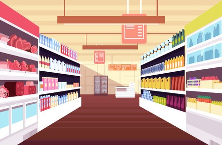 Grocery supermarket interior with full product shelves. Retail and consumerism vector concept. Illustration of supermarket and shop, grocery interior Banco de Imagens