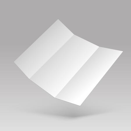 Flyer mockup. Blank white folded paper letterhead. 3d leaflet card vector template. Illustration of empty 3d white paper flyer Ilustração Vetorial