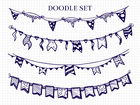 Hand drawn flags garlands doodle vector set for birthday celebration, sketchy border bunting for festival illustration Stock Photo