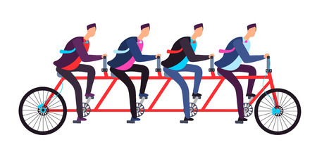 Business people riding on tandem bicycle. Team coordination. Successful business teamwork and leadership vector concept. Illustration of teamwork bicycle tandem transportation to goal Standard-Bild