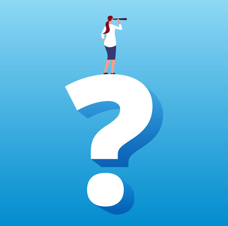 Businesswoman on question mark. Unknown future journey and next decision, strategy choice and business challenge vector concept. Business question and problem decision, solution and think illustration