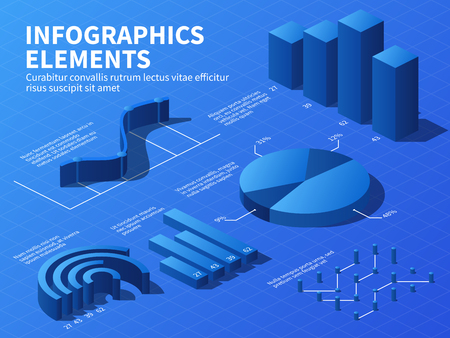 Isometric infographic. 3d statistics graphs and growth charts, percentage diagrams. Business presentation vector infographics. Information presentation template, data layout graphic illustration