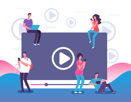People watching online video. Digital internet television, web videos player or social media live stream vector concept illustration. Online video stream, play and watching movie