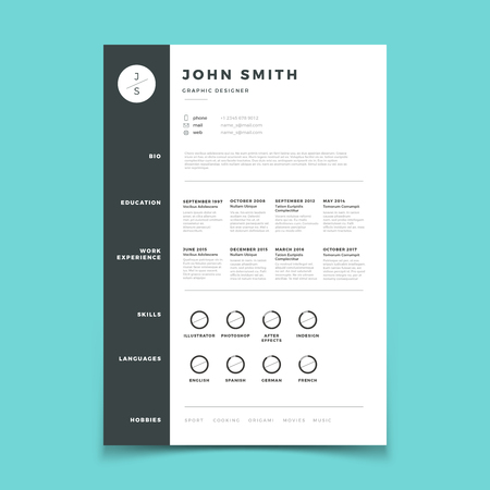 Professional cv. Resume with vitae and curriculum vector template. Curriculum vitae mockup, application cv candidate with skill education illustration
