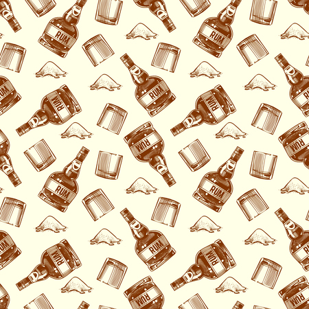 Bottle of rum, glasses and cocaine seamless pattern background. Vector illustration Stock Photo
