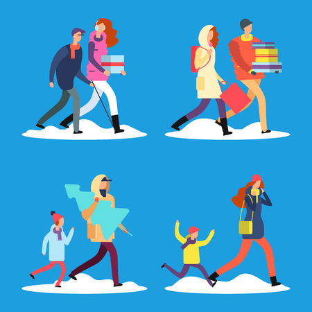 Cartoon people walking on winter street. Men, women, kids, old citizen in warm clothes vector illustration