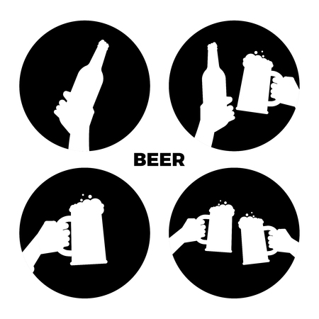 Vector beer icons of set. Black and white beer in hands silhouettes isolated illustration monochrome