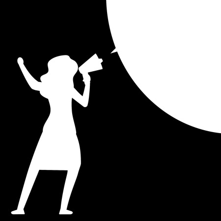 Woman with megaphone. Woman silhouette with bullhorn with speech bubble - black and white message template. Vector illustration