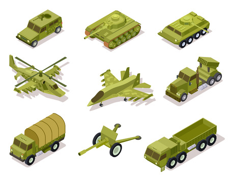 Armor weapon collection. Helicopter and cannon, volley fire system and infantry fighting vehicle, tank armored truck. Isometric vector. Army artillery, helicopter military and tank illustration