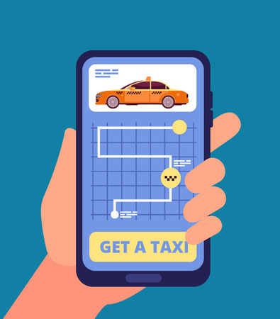 Taxi app concept. Hand holding smartphone with taxi application vector illustration. App mobile taxi service, online travel cab