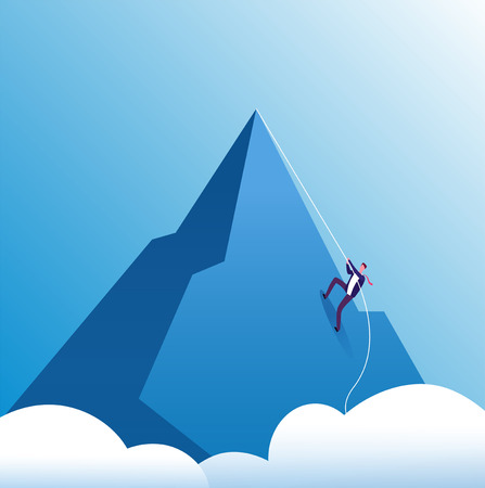 Businessman climbing mountain. Challenge, perseverance and personal growth, effort in career. Business motivation vector concept. Leadership business climb to mountain top illustration Vektoros illusztráció