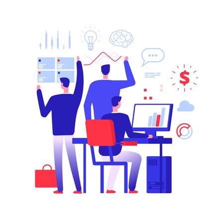 Multitasking manager. Businessman in different business action solving urgent tasks. Project management vector concept. Illustration of businessman manager success, leadership multi-tasking