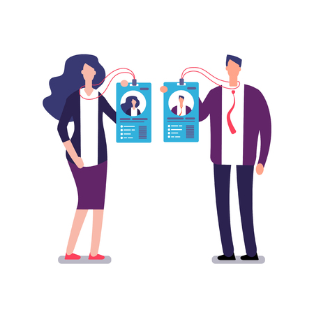 Showing badge. Security access identification pass card. Businessman and businesswoman in business suit show id badges. Vector concept identification employee, photo user woman and man