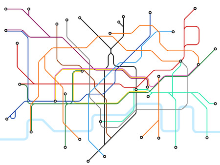 London underground map. Subway public transportation scheme. Uk train station vector plan. Illustration of scheme subway public transportation line Ilustração