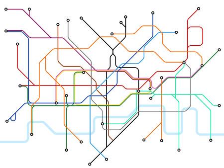 Londoner U-Bahn-Karte. Öffentlicher Nahverkehr der U-Bahn. Vektorplan für den britischen Bahnhof. Abbildung des Schemas der U-Bahn-Linie des öffentlichen Verkehrs