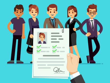 Recruitment. Recruiter choosing candidates with female cv resume vector illustration. Career and recruitment resume