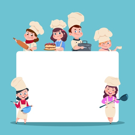 Little cooks. Cartoon children chef with big blank white banner. Cooking class students vector characters set. Chef and cook, cooking food illustration Vetores