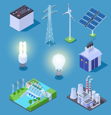 Icone isometriche di energia elettrica. Generatore di energia, pannelli solari e centrale termica, centrale idroelettrica. Simboli vettoriali elettrici. Illustrazione pannello solare isometrico, generatore di corrente e turbina