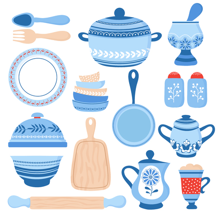 Crockery ceramic cookware. Blue porcelain bowls, dishes and plates. Kitchen tools vector collection. Illustration of cookware and pot, plate and jug illustration Vector Illustratie