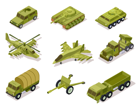 Sammlung von Rüstungswaffen. Hubschrauber und Kanone, Salvenfeuersystem und Schützenpanzer, Panzerwagen. Isometrischer Vektor. Armeeartillerie, Hubschraubermilitär und Panzerillustration