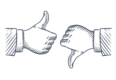 Hand drawn thumbs up and down. Like and unlike business isolated sketch vector symbols. Illustration of hand with thumb up finger, ok and negative Vektoros illusztráció