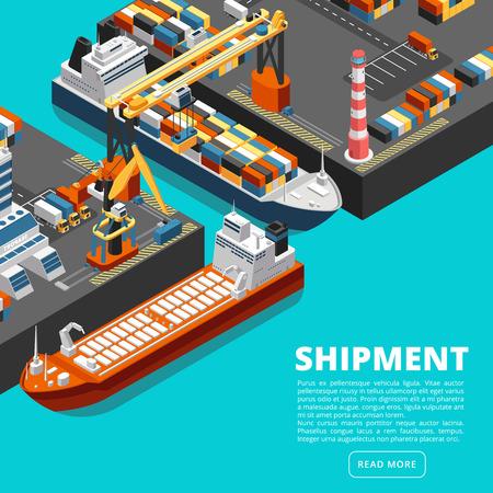 Isometrisches 3D-Seehafenterminal mit Frachtschiffen, Kränen und Containern. Vektorkonzept der Versandindustrie. Seehafen mit Containerschiff, Frachtkran und Dockillustration