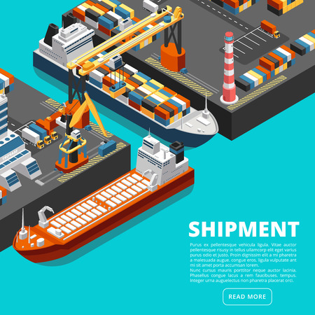 Terminale portuale isometrico 3d con navi da carico, gru e container. Concetto di vettore di industria di spedizione. Porto marittimo con nave portacontainer, gru merci e illustrazione del molo
