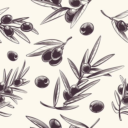 Olive branches seamless pattern. Mediterranean olives branching texture. Botanical italian food vector repeating dressing wrapper. Illustration of olive mediterranean branch plant seamless pattern Illustration