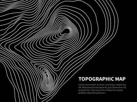 Contour map. Cartography line relief graphic vector geometric background. Cartography and topographic background, area physical relief illustration