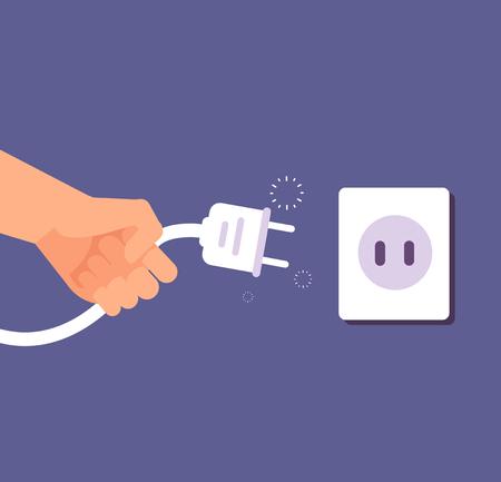 Enchufe desconectado. Conexión o desconexión de electricidad con enchufe y toma de corriente. Error 404, concepto de vector de página no encontrada. Cable de desconexión eléctrica, toma de corriente y enchufe ilustración Foto de archivo