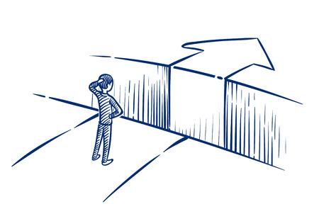 Concept de défi commercial. L'homme d'affaires surmonte le gouffre d'obstacles sur la voie du succès. Illustration vectorielle dessinés à la main. Réalisation et défi, obstacle à surmonter pour l'homme d'affaires