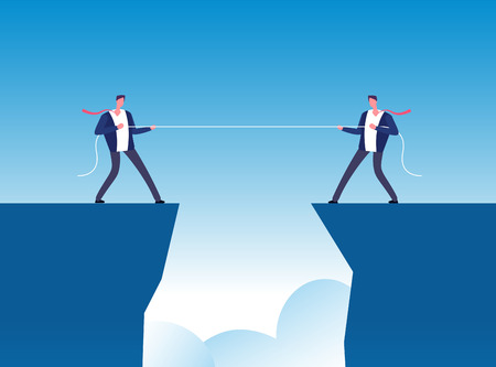 Conflict concept. Businessmen pulling rope over precipice. Business rivalry and competition vector background. Pull rope, businessman conflict business illustration