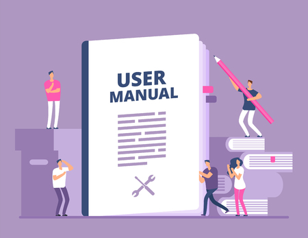 User manual concept. People with guide instruction or textbooks. User reading guidebook and writting guidance. Vector illustration. Manual book instruction, handbook help guide Stockfoto