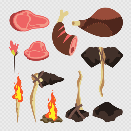 Cartoon neolithic tools and meats, weapons isolated on transparent background