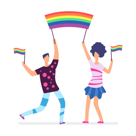 Lgbt parade. People holding rainbow flags. Man and woman vector character isolated on white illustration