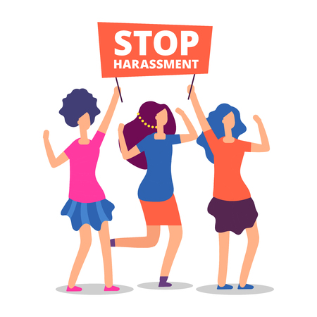 Sexual harassment concept. Stop abuse female demonstrations isolated on white. Vector illustration Stock Illustratie