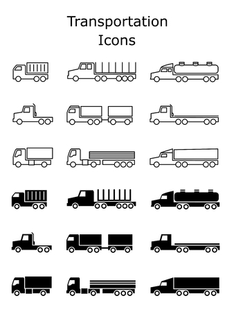 Transportation icons set. Delivery trailers, cargo trukcs, dumpers and van vector illustration isolated on white