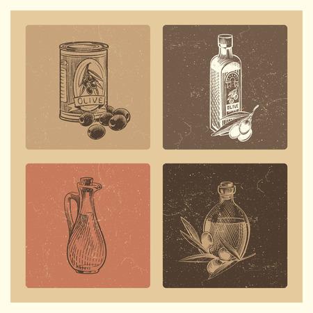 Vintage olive oil vector banners or poster for menu, shop or stickers illustration