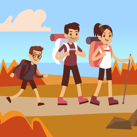 Happy family hikers. Dad, mom and son make autumn trekking outdoor adventure, vector concept illustration