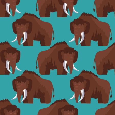 Stone age mammoth seamless pattern color background. Vector flat illustration