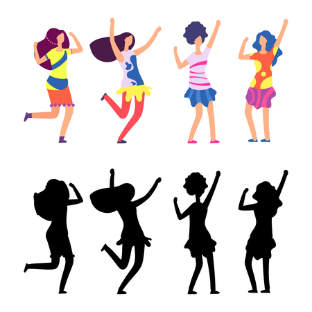 Happy women in bright clothes. Parade or hippie female cartoon character. Vector illustration Stock Photo