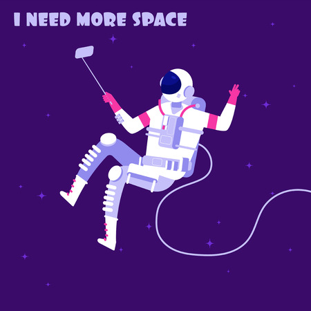 Astronaut in weightless. Spaceman in outer space. I need more space astronautics vector concept. Illustration of spacewalker exploration make photo selfie 向量圖像