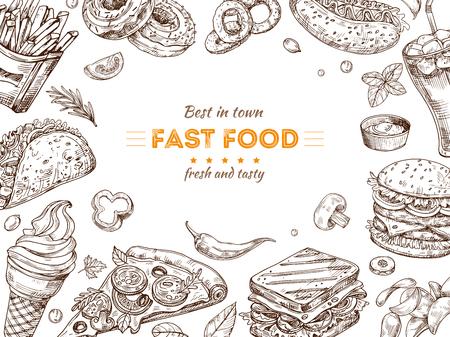 Fast food background. Sketch drawing hamburger, cola snacks. Doodle ice cream, pizza and sandwich. Fast food restaurant vector poster. Illustration of fast food doodle, dinner menu banner
