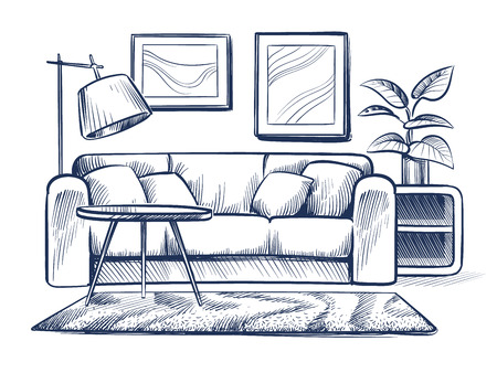 Sketch living room. Doodle house interior with couch, lamp and picture frames. Freehand drawing home black and white vector interior. Illustration of sketch room with furniture interior