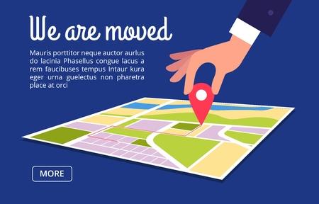Concetto in movimento. Modifica dell'indirizzo, nuova posizione sullo sfondo del vettore della mappa di navigazione. Illustrazione del banner di navigazione che abbiamo spostato Vettoriali
