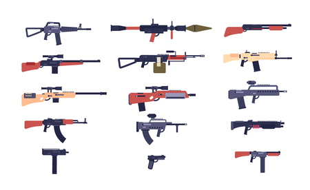 Automatic guns. Battle game weapons. Pistol, shotgun and launcher, rifles. Cartoon vector gun collection of hotgun and handgun, military pistol and weapon illustration Çizim